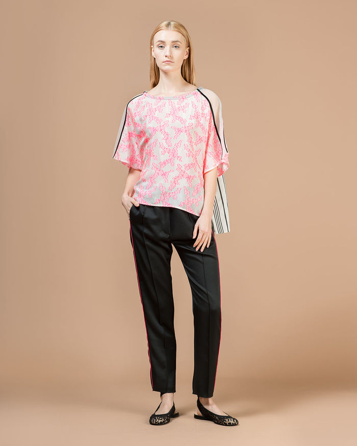 White Blouse with Fuchsia & Black Patterns