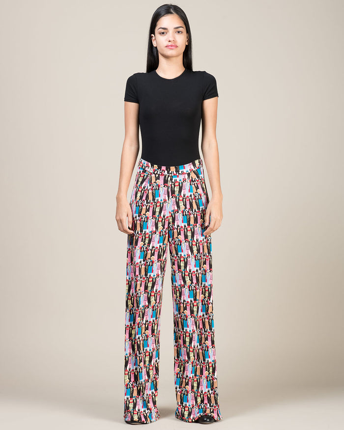 Patterned Palazzo Pants in Viscose