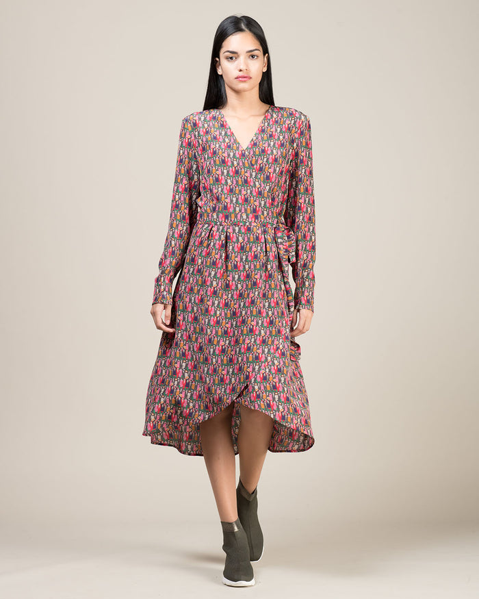 Patterned Silk Wrap Dress