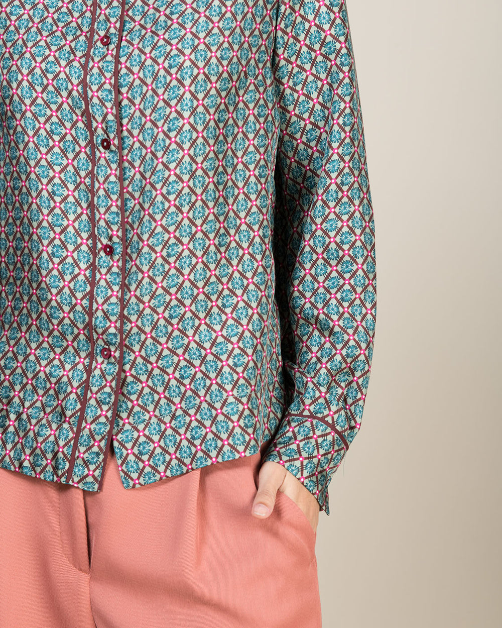Green and Pink Patterned Silk Shirt