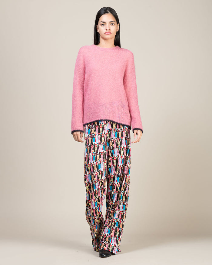 Pink Sweater with Blue Edging