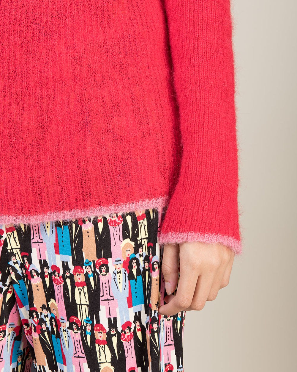 Red Sweater with Funnel Neck and Contrast Edging