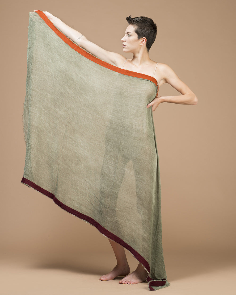 Moss Green Needle Punched Pigment Dyed Stole