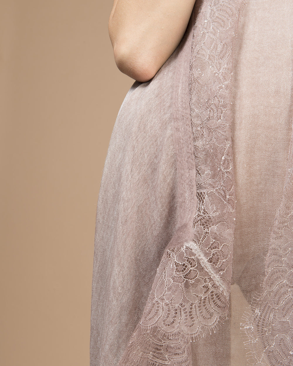 Pink Needle Punched Lace Stole
