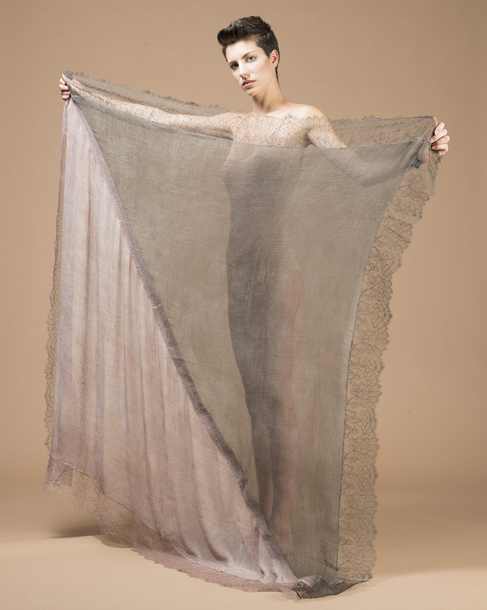 Pink & Taupe Needle Punched Lace Stole