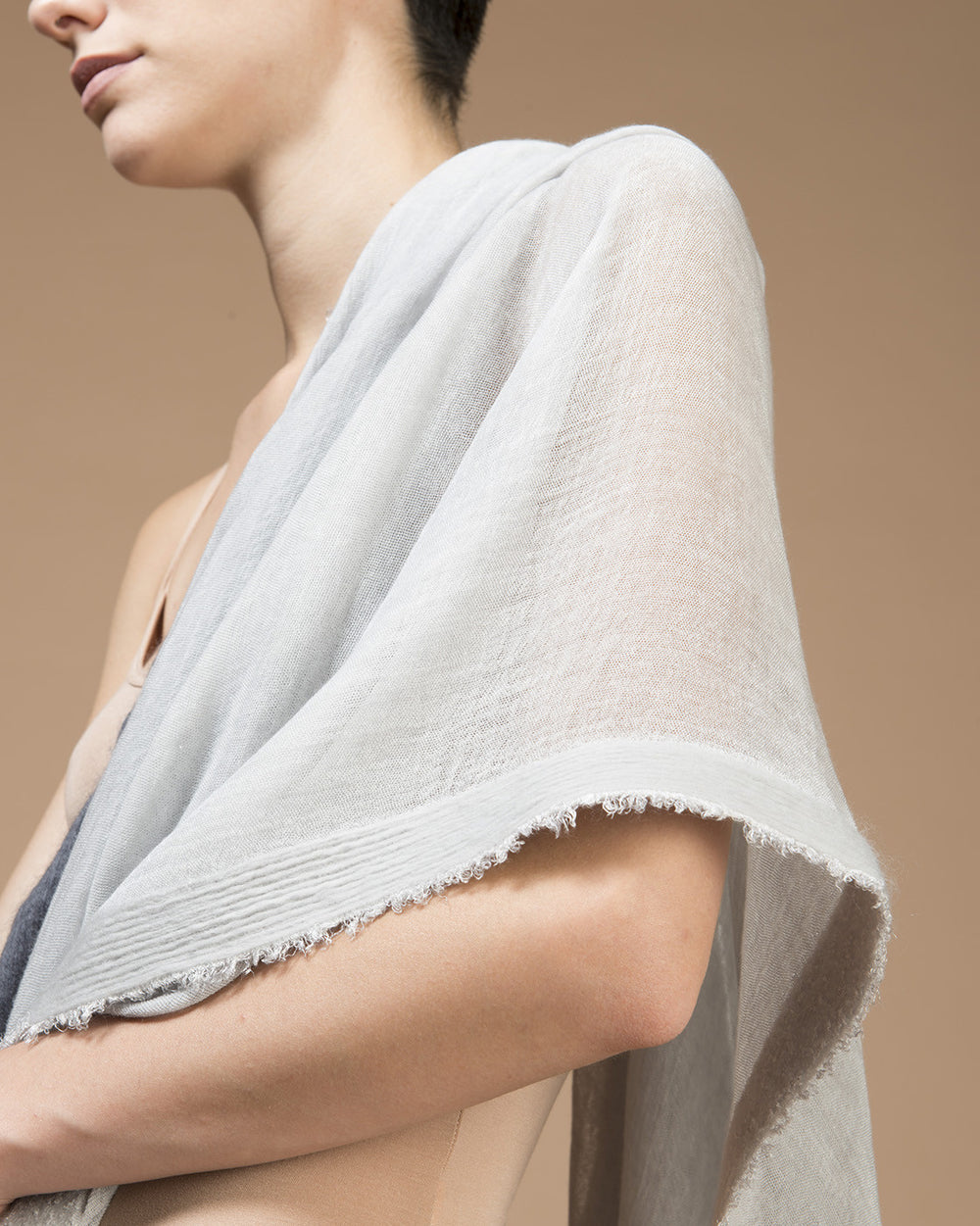 Ice White Needle Punched Pigment Dyed Stole