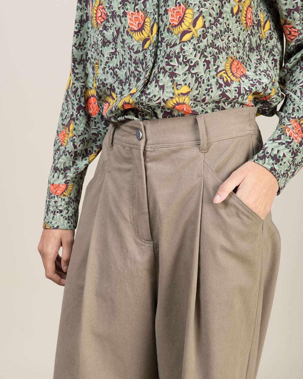 Taupe Wide Leg Gabardine Moleskin Cotton Pants