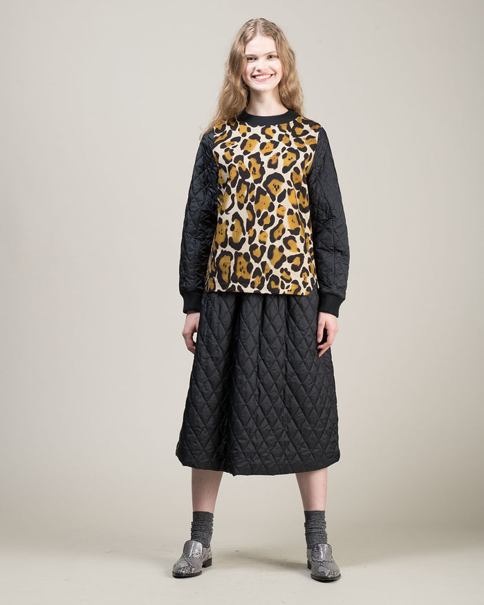 Animal Print Black Technical Fabric Sweatshirt