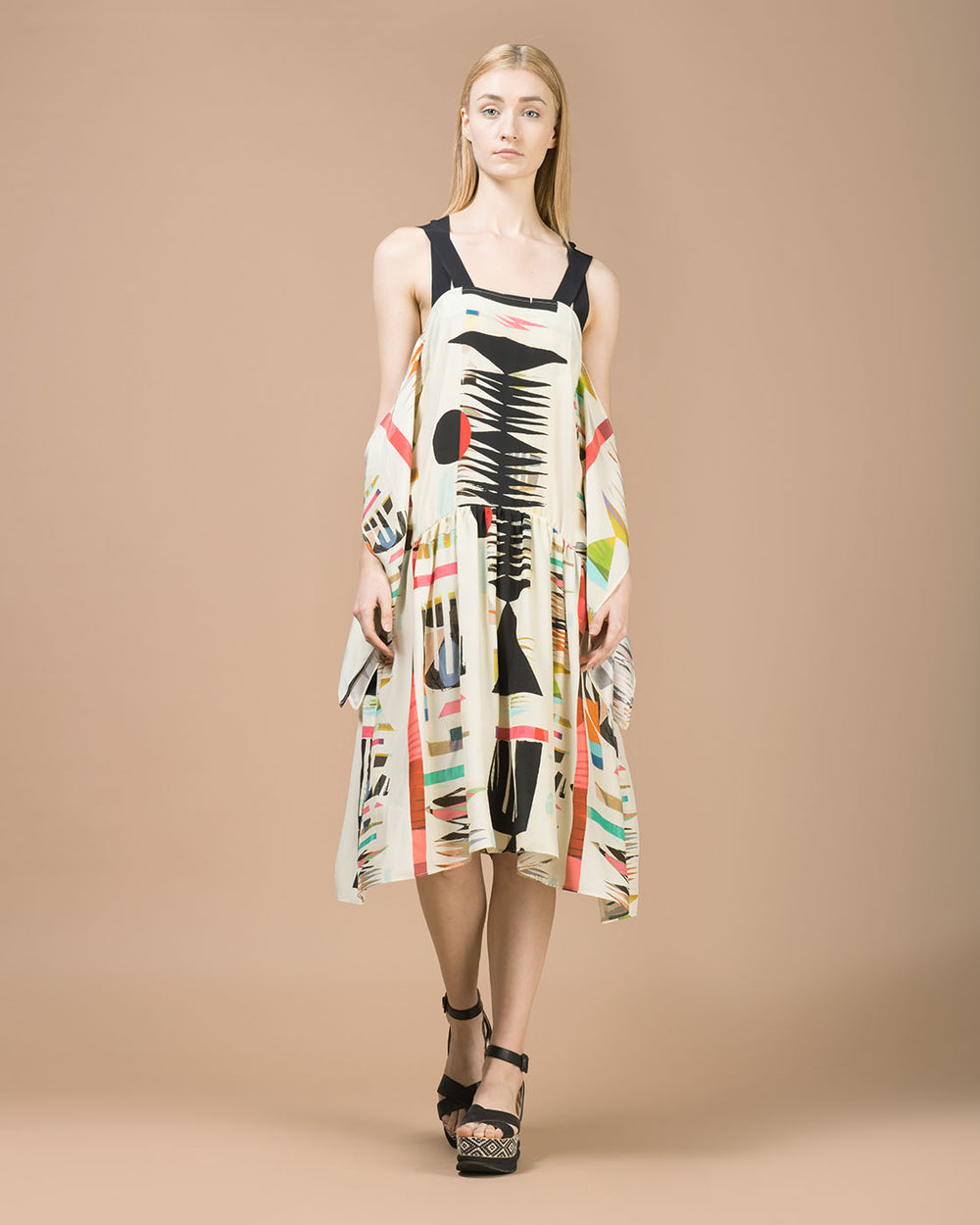 Beige Abstract Print Silk Mid Length Dress
