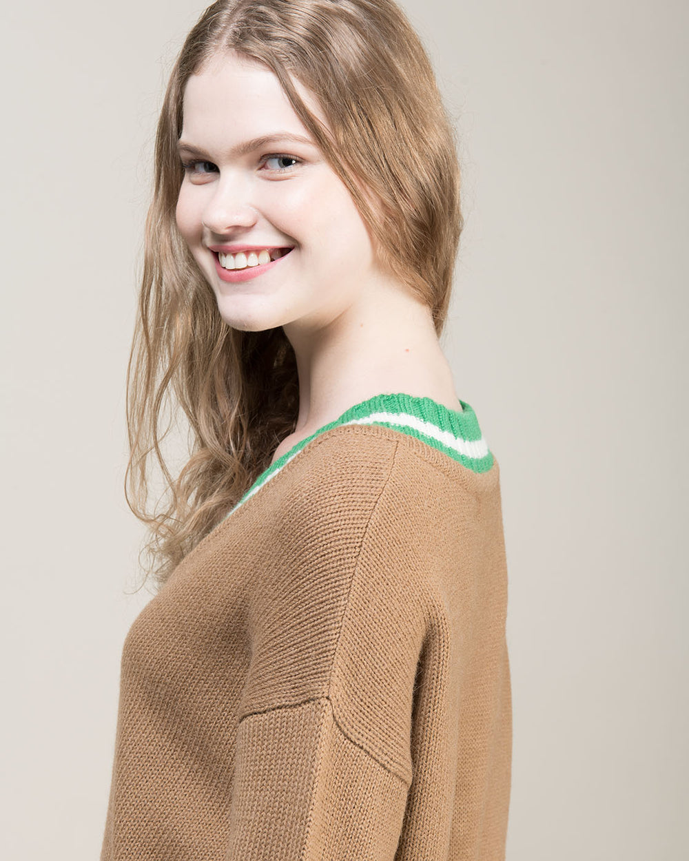 Beige V Neck Two Tone Sweater