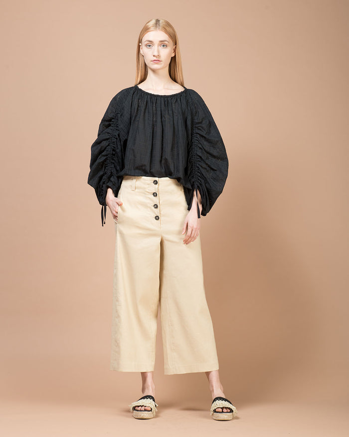 Beige Wide Cropped Pants