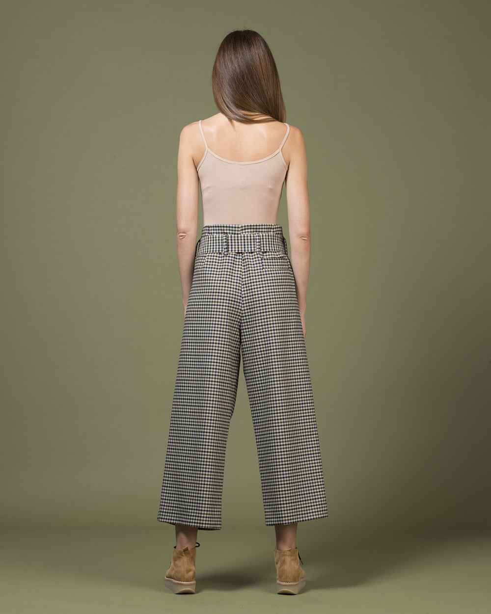 Black & Beige Checked Pants