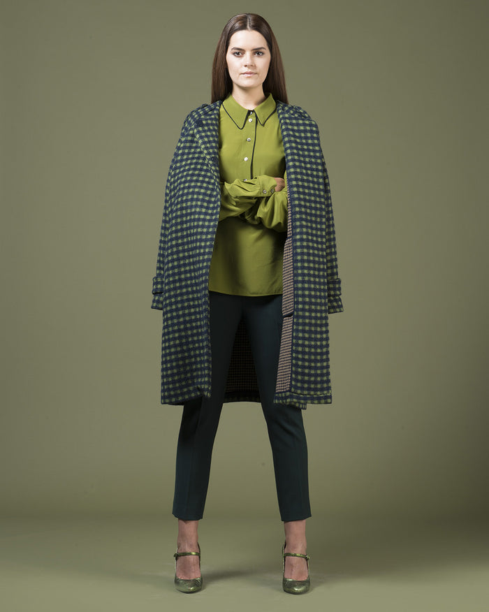 Black & Green Double Checked Coat