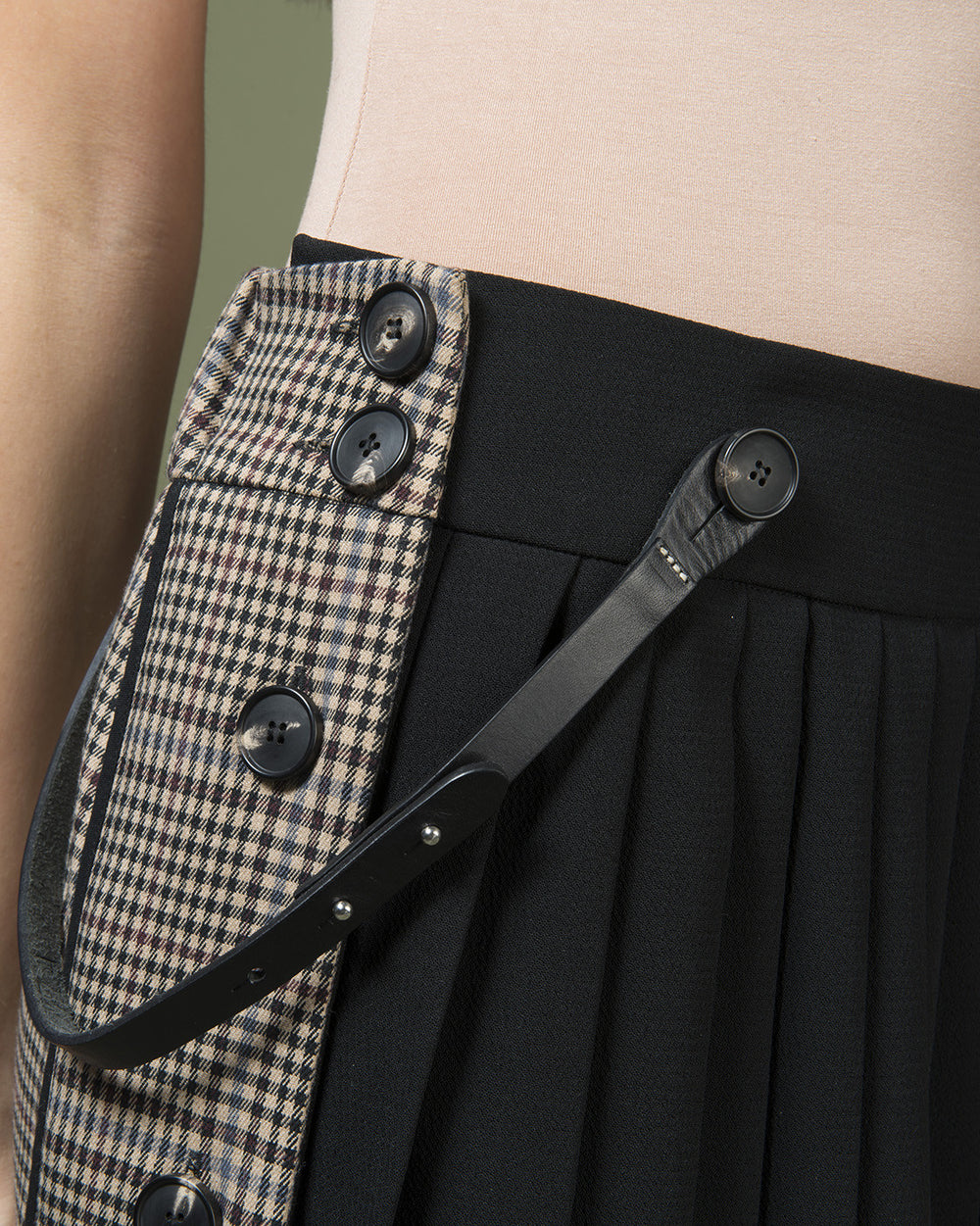Black & Micro Check Pleated Dress & Skirt
