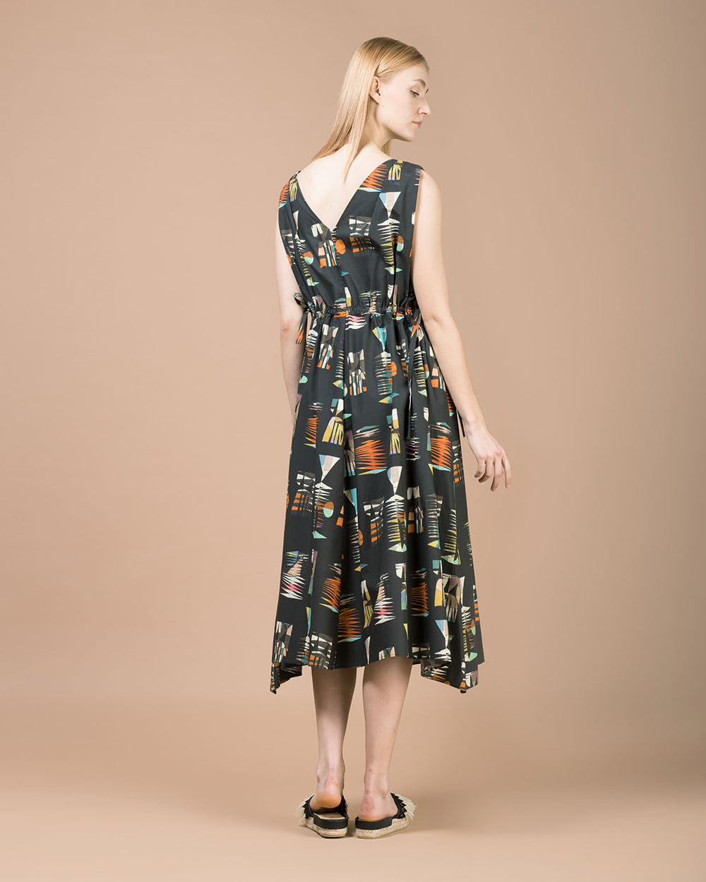 Black & Multicolor Pattern Long Dress
