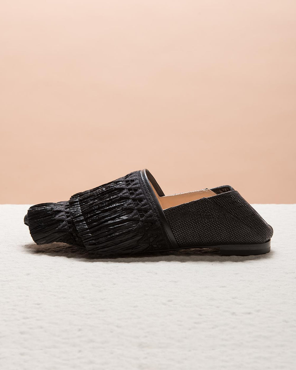 Black Raffia Slippers