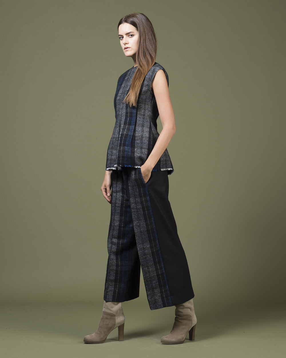 Black Tartan Sleeveless Top
