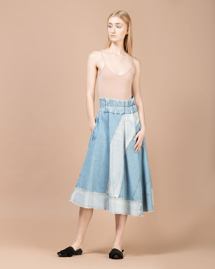 Blue Asymmetric Mid Length Skirt