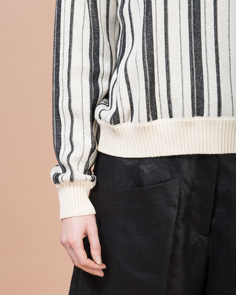 Blue & Beige Striped Long Sleeve Crewneck Sweater