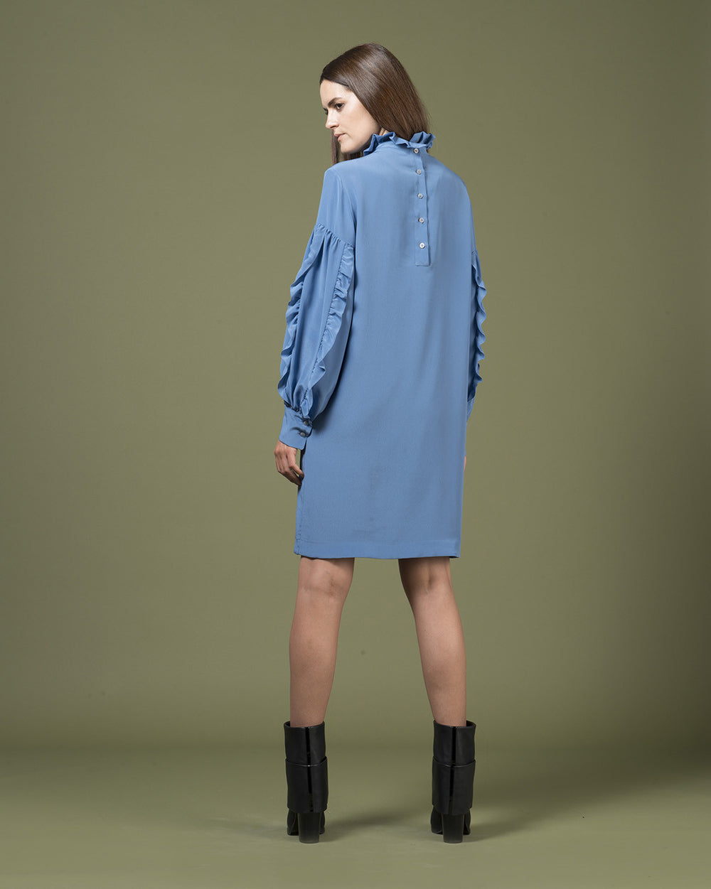 Blue Ruffle Long Sleeve Dress