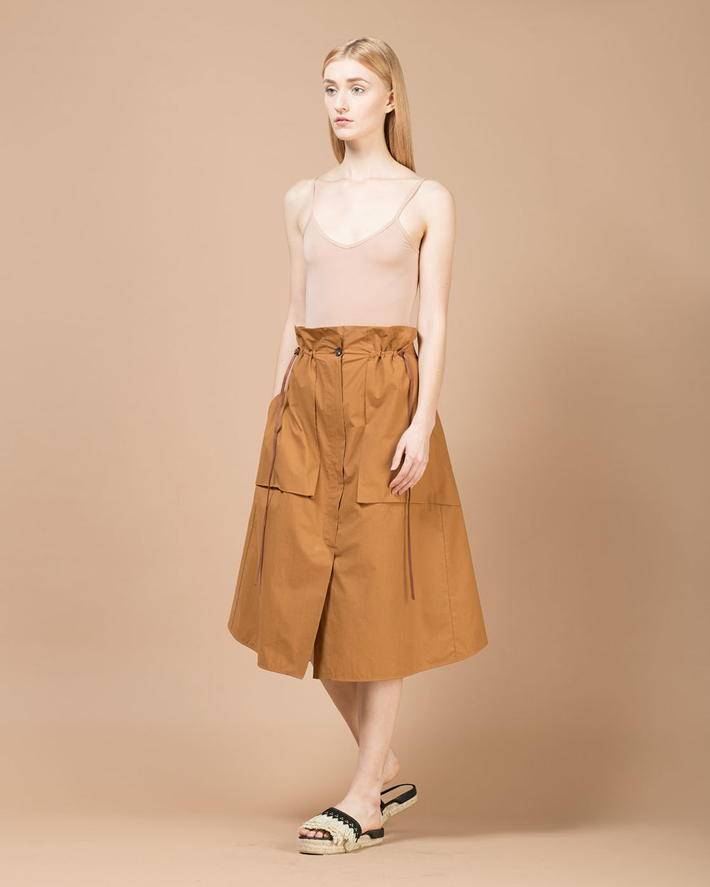 Brown High-Waisted Mid-Length Skirt