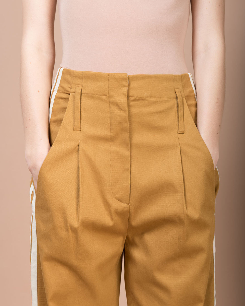 Brown High-Waisted Wide Pants