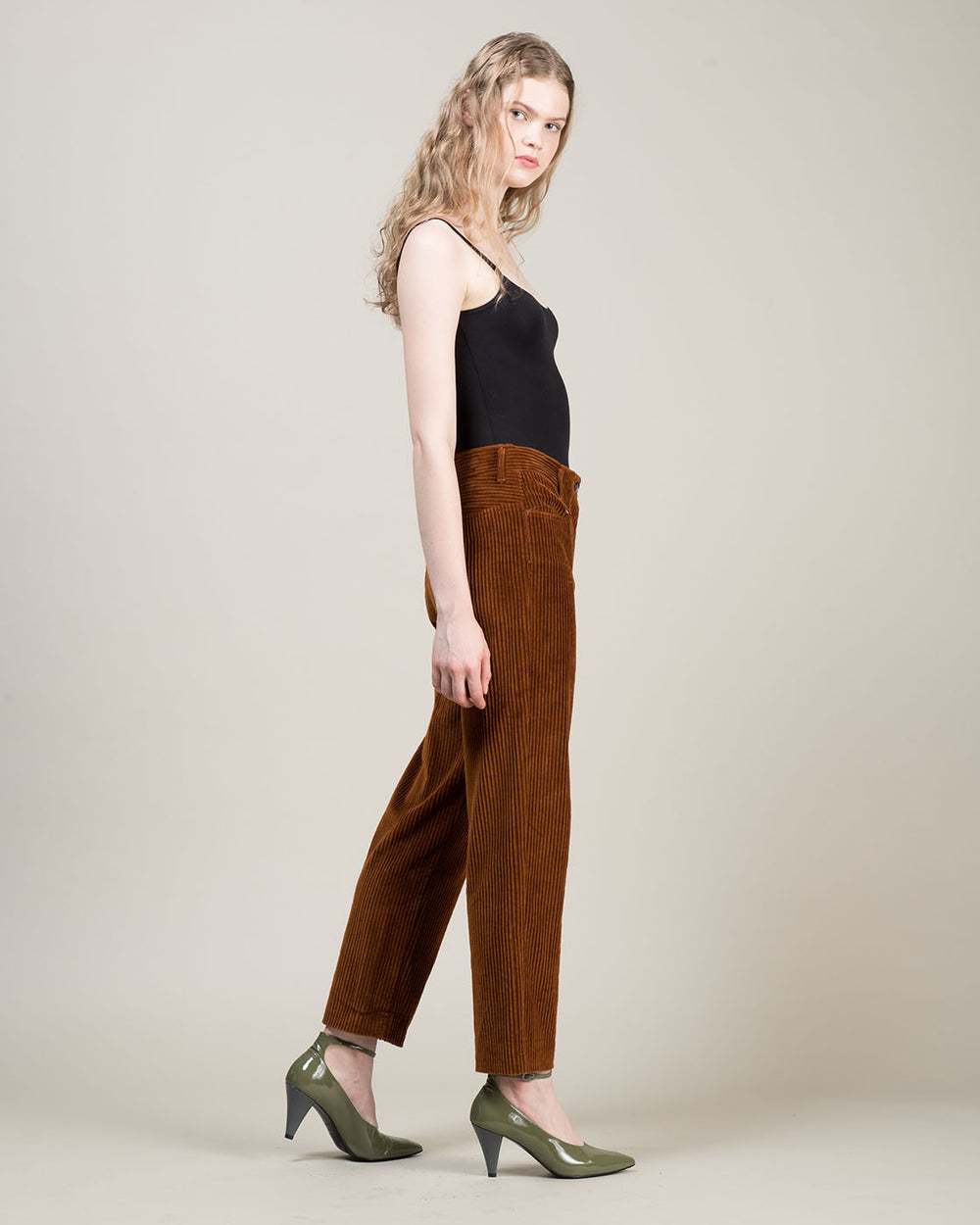 Brown Straight Leg Corduroy Pants