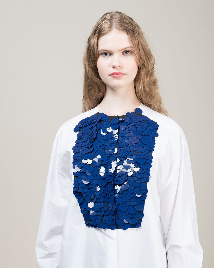 Cornflower Blue Large Sequin White Shirt