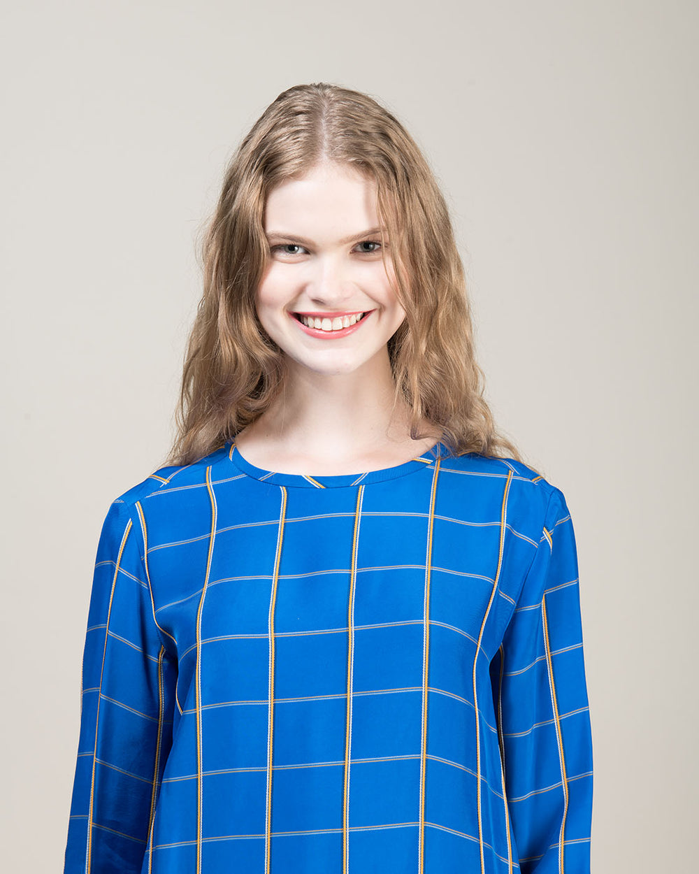 Cornflower Blue Multicheck Pattern Viscose Blouse