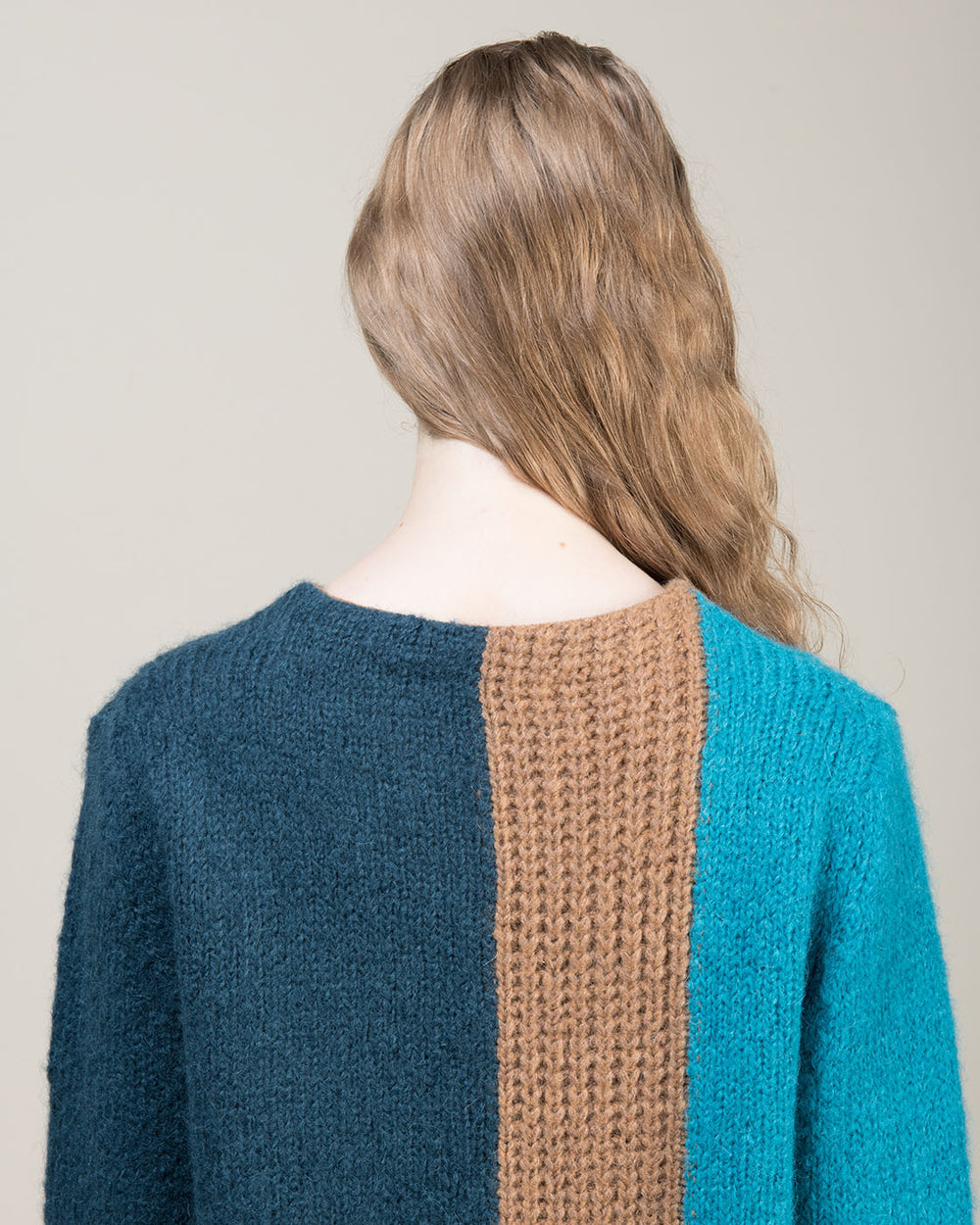 Green and Brown Colorblock Crewneck Sweater