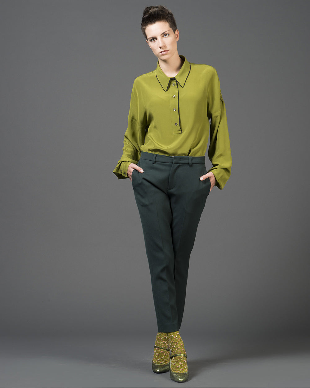 Green Silk Long Sleeve Shirt