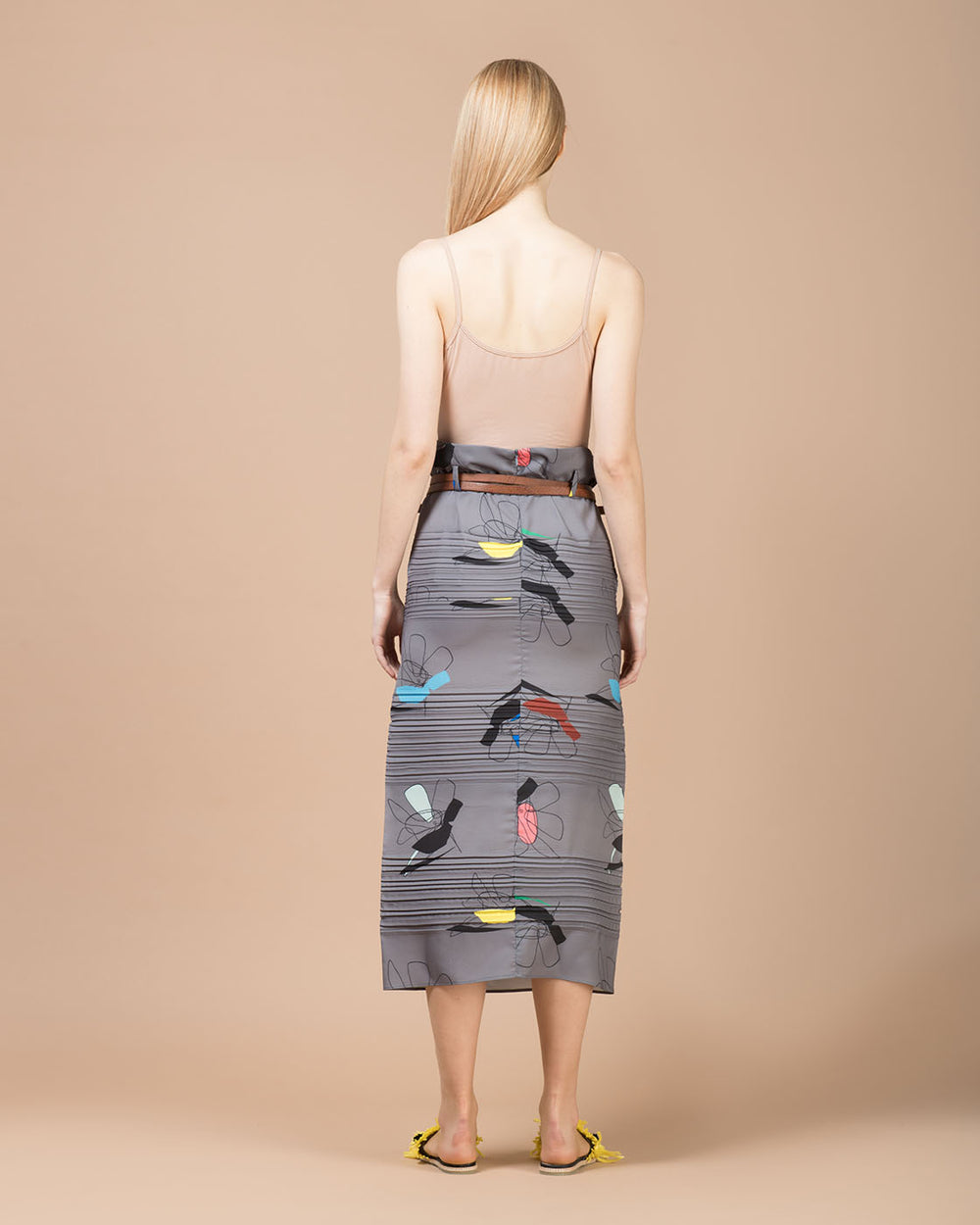 Grey Floral Printed Pleated Long Skirt