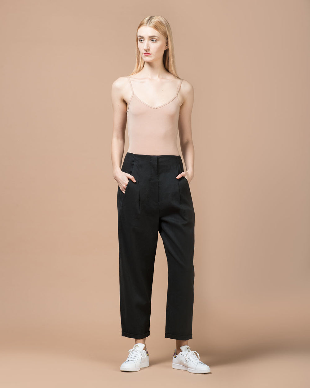 Grey Stretch Cotton Linen Wide Pants