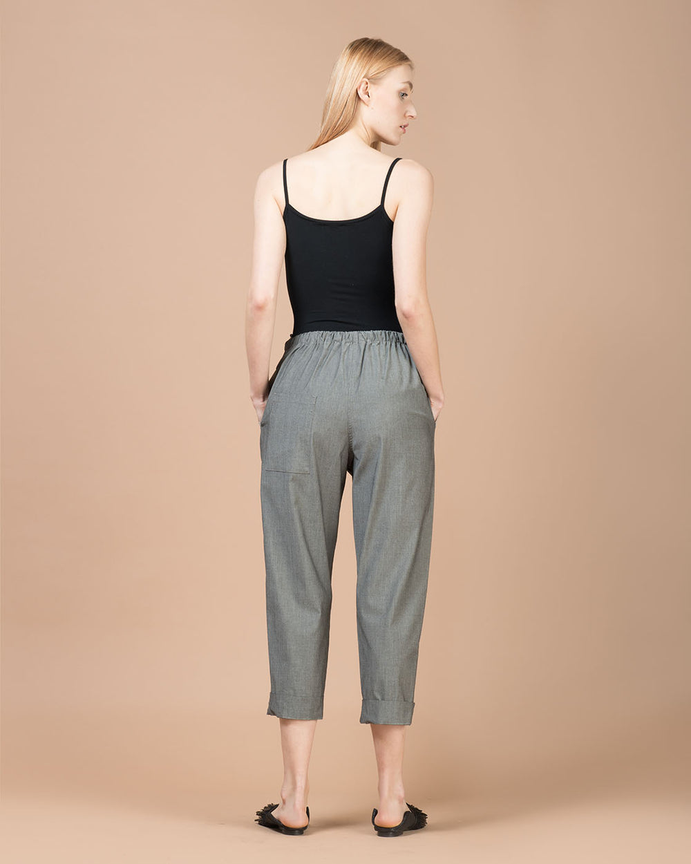 Grey Wide Cropped Pants