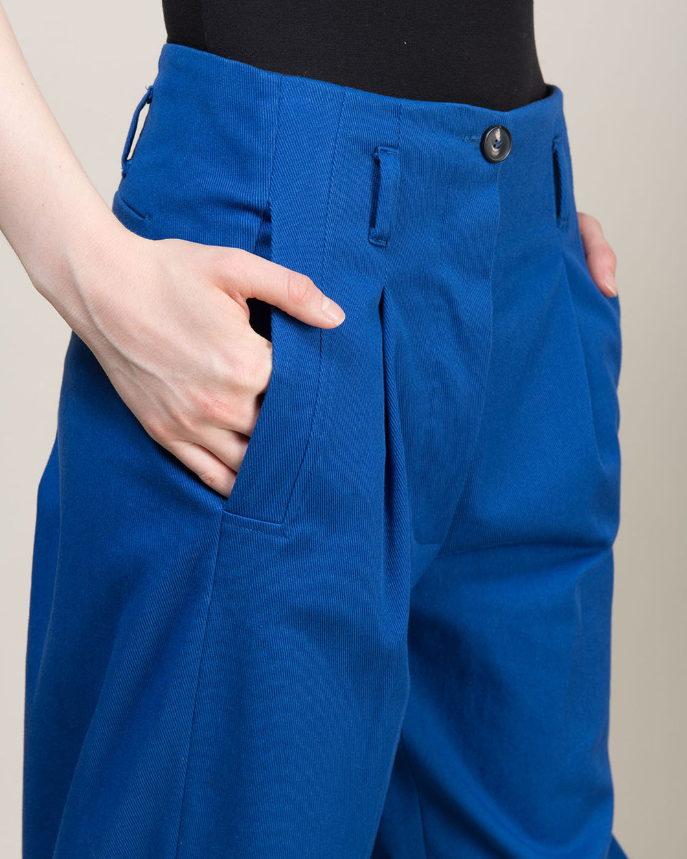 High Waist Pleated Pants in Blue