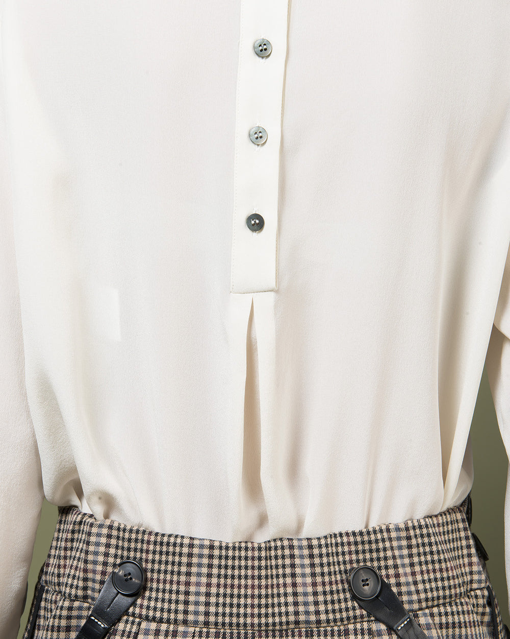 Ivory Collarless Blouse