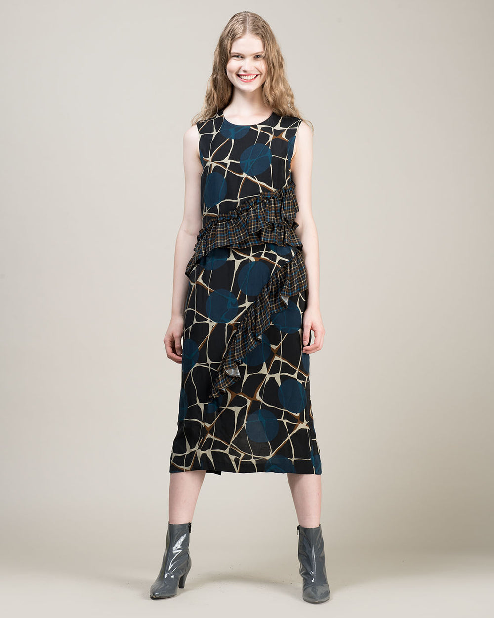 Long Dress with Multicolor Pattern