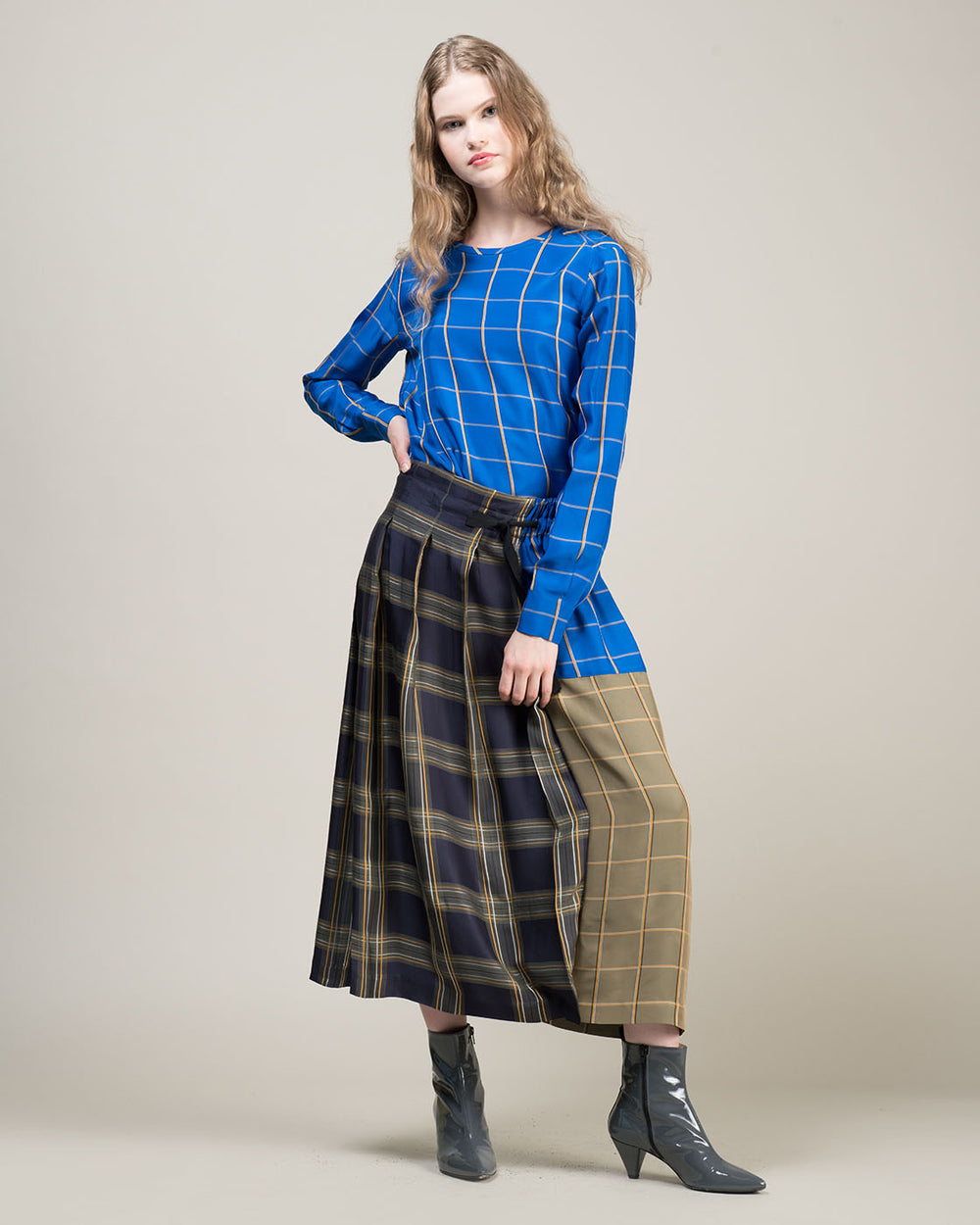 Long Flat Pleat Skirt in Cornflower Blue Multicheck Pattern