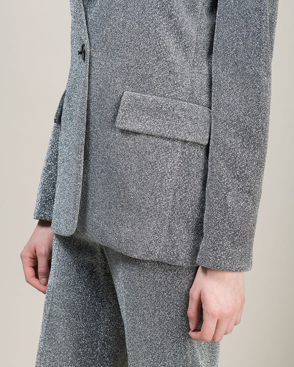Metallic Grey Single Breasted Jacket