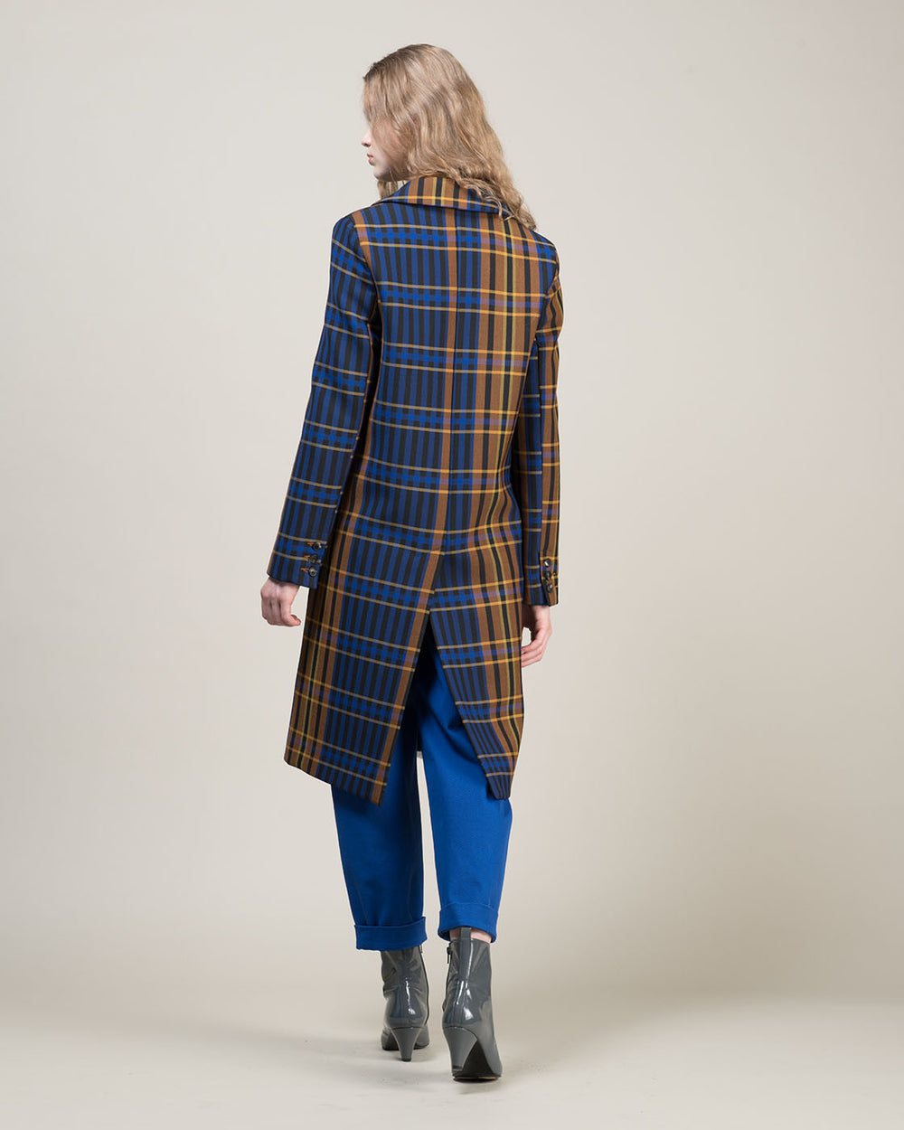 Multicolor Check Double Breasted Coat