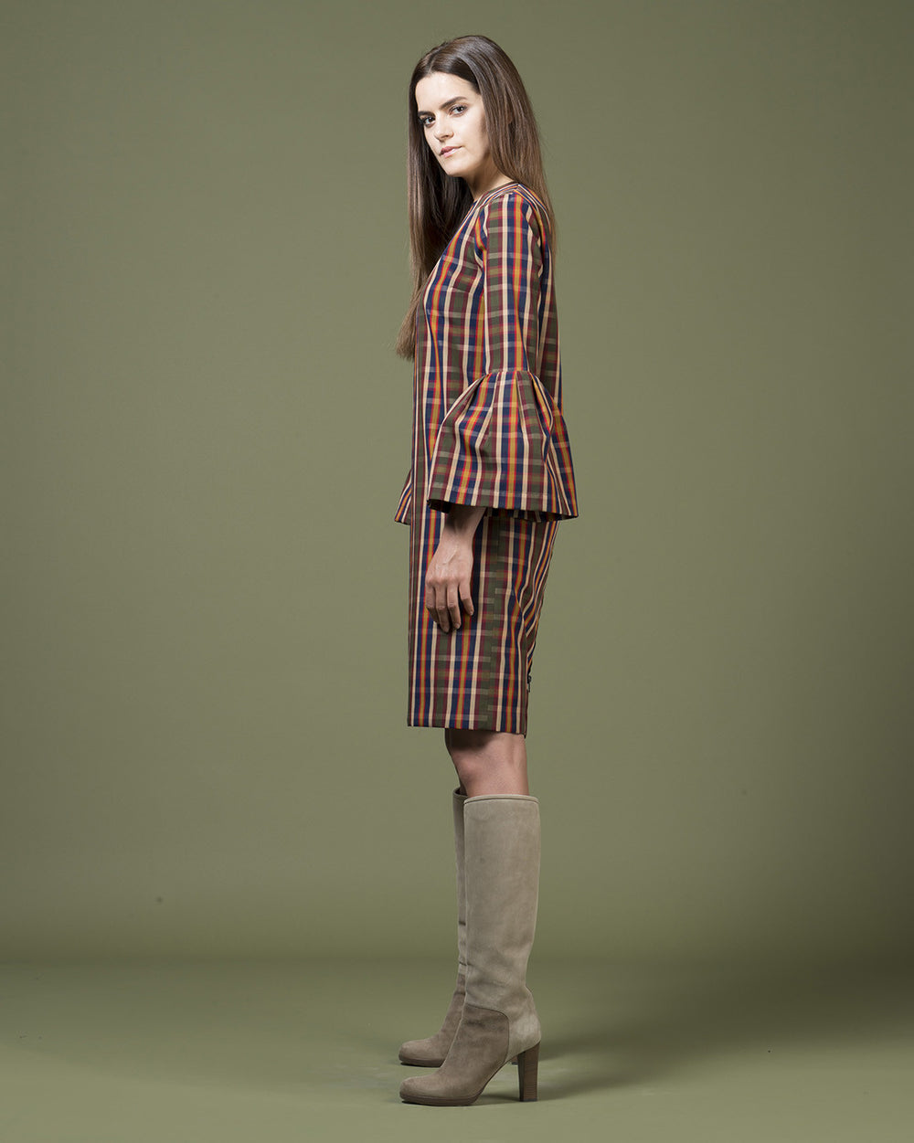 Multicolor Checked Flare Sleeve Dress