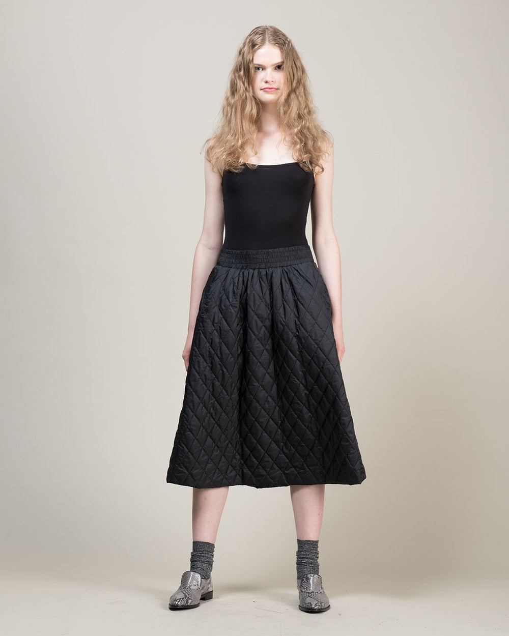 Quilted Effect Black Skirt
