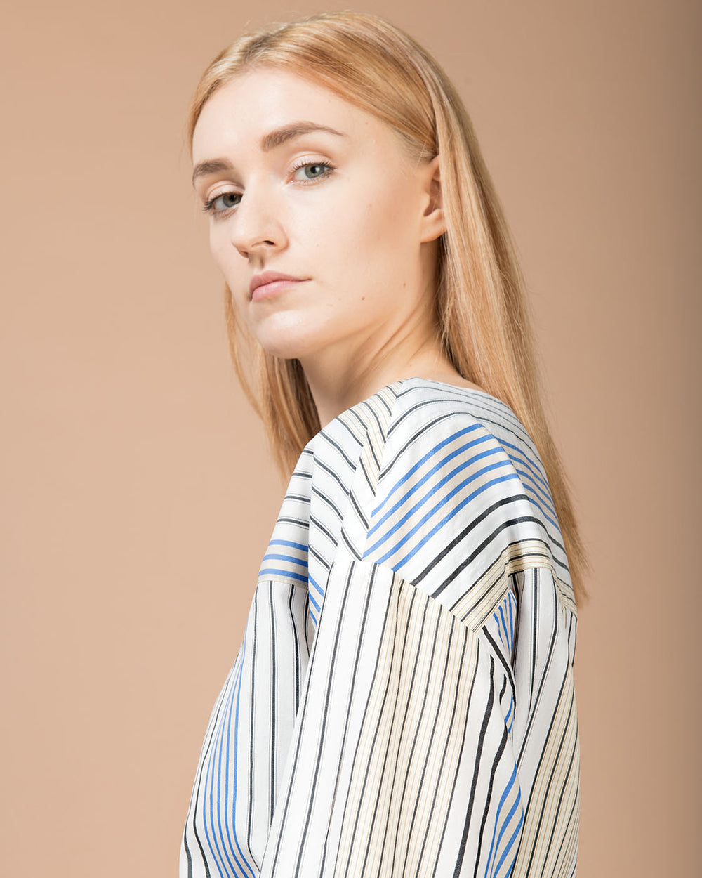 White Multicolor Striped Blouse