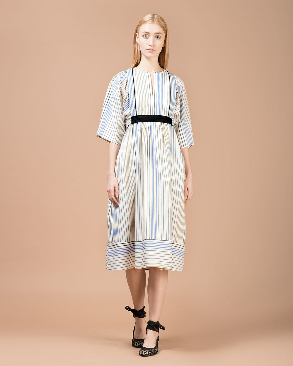 White Multicolor Striped Long Dress