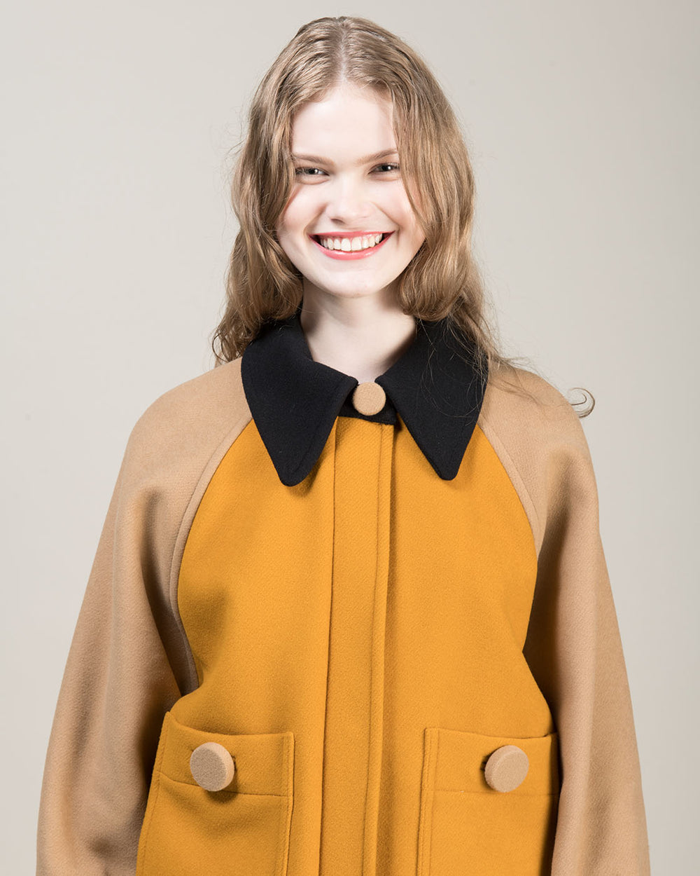 Yellow Black and Beige Color Block Jacket
