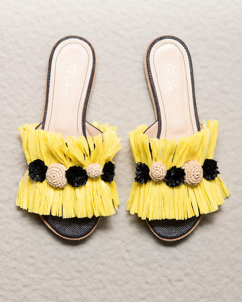 Yellow Raffia Slippers