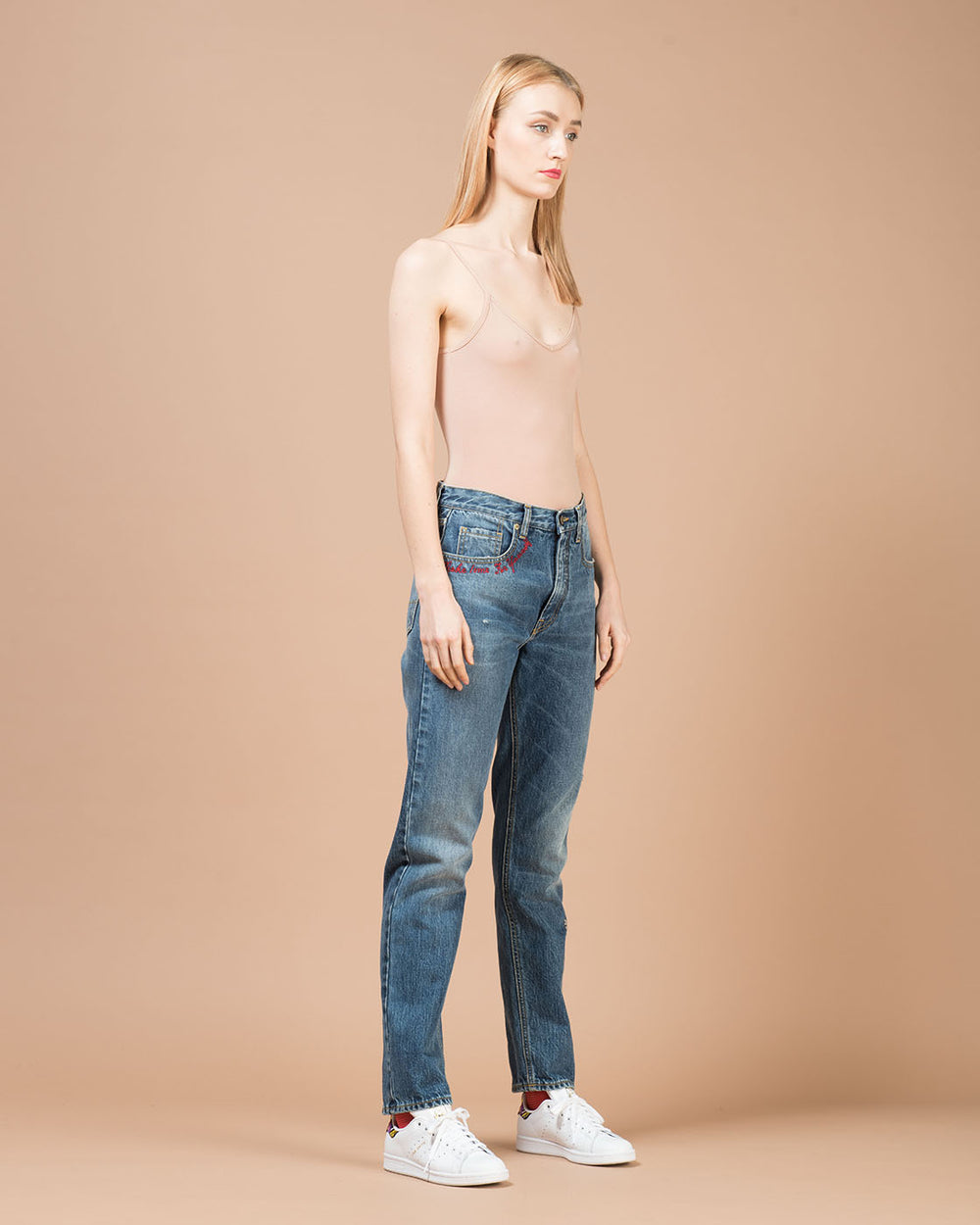 Blue Embroidered Writings Straight Leg Jeans