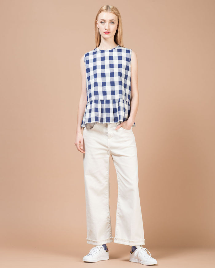 Blue & White Checked Sleeveless Blouse
