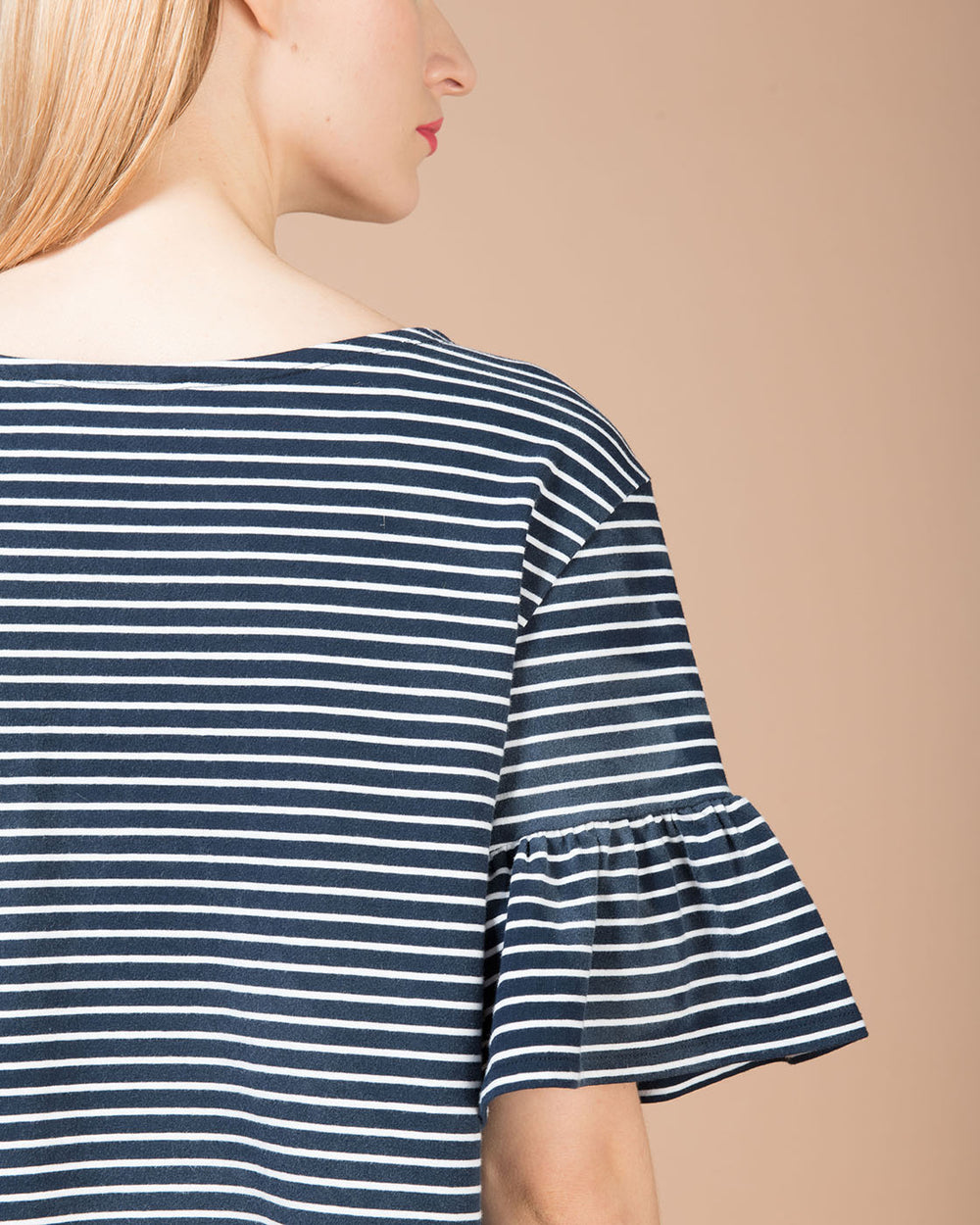 Blue & White Striped Ruched Sleeve T-Shirt