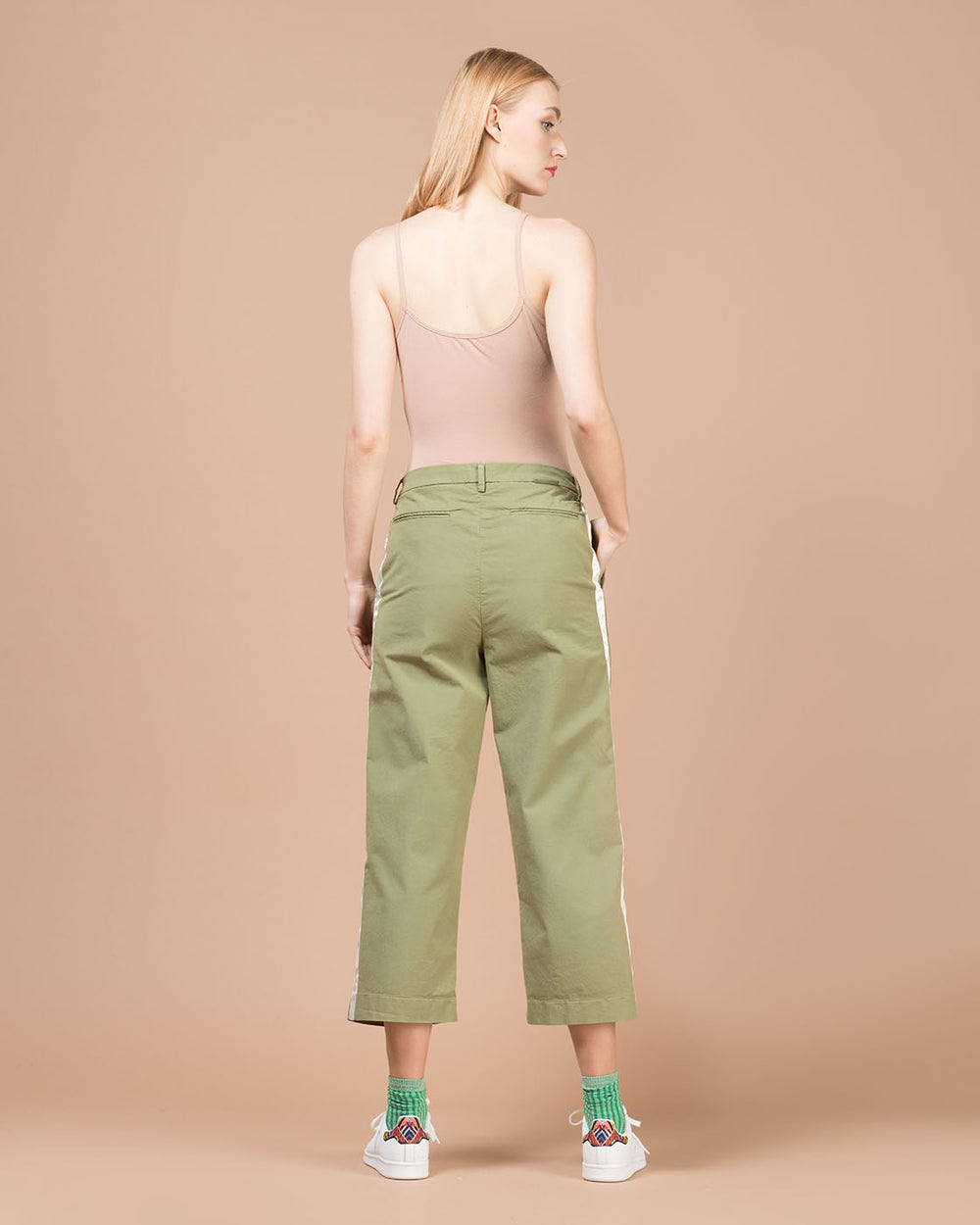 Green Contrast Stripes Straight Leg Pants